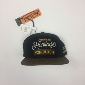 Von Dutch Black and Tan Strapback Stitched & Patch